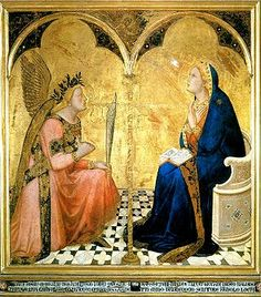 "Annunciation by Ambrogio Lorenzetti.  1348.  Tempera on panel.  50 X 47 1/4"".  Pinacoteca Nazionale, Siena, Italy"