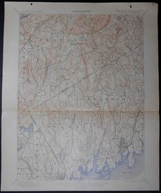 1915 Large Original Antique Topographic Map Stamford Harbor Greenwich Coscob Riverside