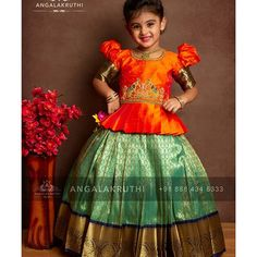 kanchivaram pavada indian lenghas for kids are never out of Trend silk store Baby Girl Frocks, Frocks For Girls, Dresses Kids Girl, Baby Dresses, Kids Outfits, Girls Frock Design, Baby Dress Design, Kids Lehanga Design, Lehanga For Kids