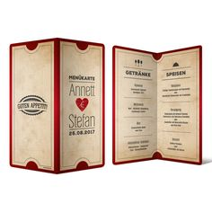 Menükarten zur Hochzeit - Vintage Herz Rot #menükarte #hochzeit #getränke #essen #speisen #drinks #mahlzeit #food #wedding #vintage #herz #rot