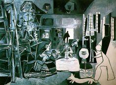 VERSIONES DE LAS MENINAS- A los 76 años, cuando Picasso era famoso y rico, se encierra en su estudio durante cuatro meses y realiza la serie de Las Meninas, compuesta por 58 cuadros. Durante ese tiempo no deja que nadie los vea, excepto su mujer Jacqueline.