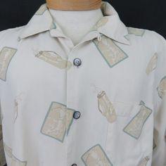 Aureus Golf Shirt XL Golfing Bags Clubs Golfer Cream Green Silk Cotton Camp EUC #AureusSilk #HawaiianShirt