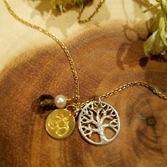 Sterling Silver Tree of Life Charm Necklace-Gold Om Necklace-Tree of Life Necklace-Om Charm-Tree of Life Om Pendant-Smoky Quartz & Pearl   $37.50