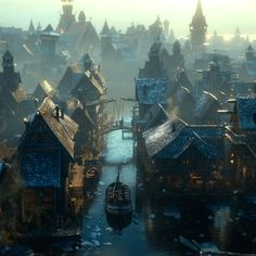 Laketown. And the bells shall ring in gladness at the Mountain King's return. But all shall fail in sadness, and the lake will shine and burn.