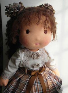 Waldorf Doll 17 inch Girl Brown Haired  WALDORF DOLL by InnaGanke, $230.00