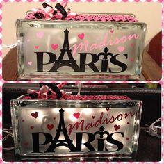 Paris Girls Glass Block Night Light; Princess; Polka Dots; Butterfly; Pink Zebra