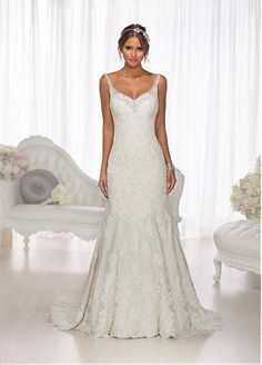Alluring Tulle Sheath V-neck Neckline Natural Waistline Wedding Dress