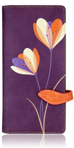 ~IRIS FLOWER~ PURPLE ESPE ORGANIZER CHECKBOOK VEGAN WALLET NEW & GIFT BOX…