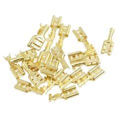20 Pcs Emas Tone Kuningan Crimp Terminal Spade Konektor 6.7mm Perempuan
