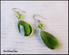 ABSINTHE EARRiNGS GREEN Teardrop CRYSTAL Earrings Gold Plated Emerald Crystal Earrings Steampunk Victorian Earrings by SweetDarknessDesigns by SweetDarknessDesigns on Etsy