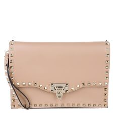 Valentino Leather Clutch With Studs Skin Sorbet Trend Rose bei Fashionette