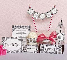 Black & White Damask Party Kits | Bella Cupcake Couture