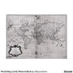 World Map (1778) White & Black Poster