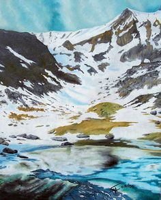 Artwork >> Aimetti Sylvain >> Thaw #artwork, #masterpiece, #oil, #painting, #canvas, #nature,  #mountains, #snow,