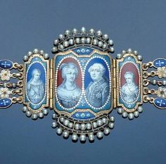Gold, enamel, and seed pearl bracelet. The central cartouches depicting enamelled portrait miniatures of Louis XVI of France (1754-1793), his wife Marie Antoinette and two of their children, Marie Therese Charlotte (1778-1861) and Louis Charles, Louis XVII, Titular King of France (1785-1795).