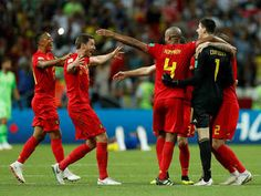 Belgium beat 5 time champions Brazil 2-1 on 06/07/2018. Belgium players celebrate after the match. (Reuters Photo)