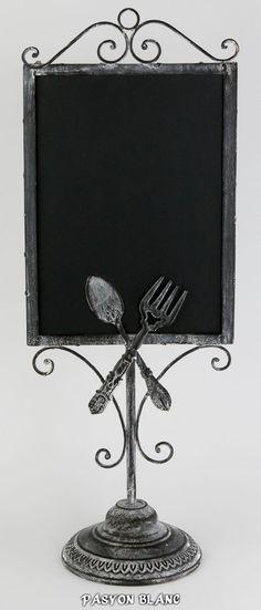 Zu finden bei: http://stores.ebay.de/pasyonblanc   Tafel Kreidetafel Menütafel Schiefertafel H60cm Shabby Landhaus Metall Grau Weiß