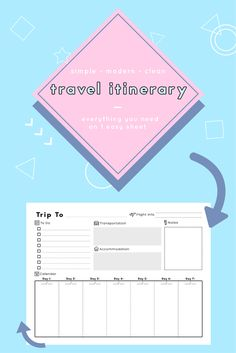 A clean, simple way to organize your travel itinerary. List flight information, packing list stragglers, your transportation, accommodation, notes, and your vacation itinerary schedule.