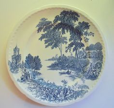 Blue and White Dinner Plate The Ferry by SongSparrowTreasures, $10.00