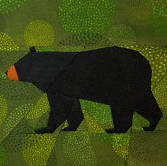 Black Bear paper-piecing quilt pattern.