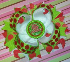 Dear Santa, i was framed!! Red & lime green Christmas Boutique Bow by MandasBowtiqueAMM