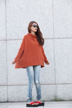 Stylish Hoodie Cape Top Hooded Cotton Blouse Top in Blue for Women - NC369. $65.99, via Etsy.