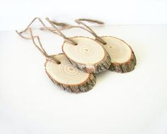 3 Sassafras Wood Gift Tags Ornaments Angle by TraditionalByNature