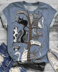 Multicolor Cat Printed Short Sleeve Shirts & Tops – lokeeda