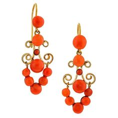 fashioned in gilt metal with yellow gold ear wires. Coral Earrings, Stud Earrings, Diamond Studs, Victorian, Fancy, Jewels, Gemstones, Yellow, Metal