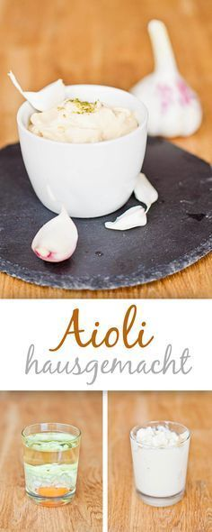 Super für alle, die Knoblauch lieben: Hausgemachte Aioli. Einfach gemacht und super lecker. Zutaten: 1 Eigelb 1 TL Senf, mittelscharf ca. 1/3 TL Kräutersalz 1,5 EL Weinessig 20g Knoblauch, grob gehackt 150ml Sonnenblumenöl