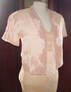 Vintage Lingerie 1930s 1940s Silk Lace Nightgown Peignoir Boudoir Glamour Great Gatsby Style