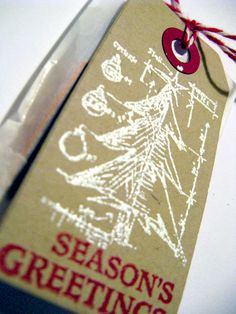 TIm Holtz Christmas stamp - love the white on kraft background (by yayascrap.blogspot.com)