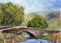 Country Bridge ACEO Flowers Trees River Original Landscape ACEO acrylic painting