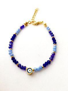 Evil eye bracelet blue beaded bracelet blue miyuki beads