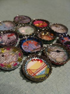 Turn bottle caps into mini collages that can be used as key chains, magnets, pendants, etc. Create your collage and use modge podge to cover the piece and then let dry. Use resin to fill the bottle cap. This will allow you to create a floating effect for some pieces.