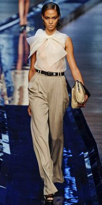 Jason Wu:  Sleeveless Bow Blouse and Tan - Ivory - Taupe Trousers.