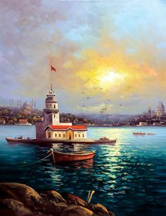 visual result related to oil paintings Nilgün Aydın Dönmez Boat Painting, Artist Painting, Painting & Drawing, Turkey Painting, Lighthouse Painting, Oil Painting Pictures, Art Pictures, Oil Paintings, Z Arts