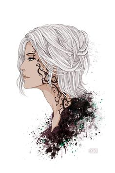 Woman of the Ithiledhil (Elves of the Black Moon) with war tattoos. (These fade after the war of battle is over and not before, once drawn)  by Kyoux.deviantart.com on @deviantART