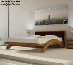 How to Get Fevicol Furniture Book?: contemporary fevicol bedroom design with unique wooden bed frame white mattress and pillows there are also bedside table wall lamps and new york city picture hung on the wall Bed Frame Design, Bedroom Bed Design, Bedroom Furniture Design, Home Room Design, Bed Furniture, Bedroom Colors, Diy Bed Frame, Bed Frames, Unique Furniture
