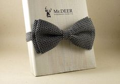 Black and White Striped Bow Tie - Ready Tied Bow Tie - Adult Bow Tie - Mens bowtie - Groomsman, Wedding Bow Tie - Gift for Him - Mr.DEER