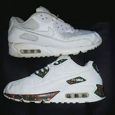 Custom nike air max 90 green and orange camo effect. Before and after shot by DavisKustoms
