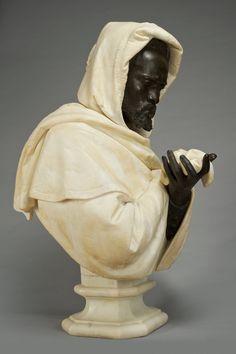 "amare-habeo: "" Pietro Calvi (Italian, 1833 - 1884) Othello, N/D White marble and bronze, 84.5 cm Bowman Sculpture, London, UK """