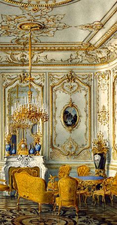 RUSSIAN MANORS ~ Palace of Count Pavel Stroganov, Oberschenk and collectioner, sponsor and count during the era of Nikolay II. The Yellow Drawing Room of Stroganovs Palace, the 19th century ~