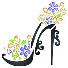 High Heel Shoe Stencil - x (S) - Reusable Decorative Flower Stiletto Platform Shoes Wall Stencil Template - Use on Paper Projects Scrapbook Journal Floors Fabric Furniture Glass Wood etc. Types Of Painting, Stencil Painting, Stenciling, Flower Stencils, Large Stencils, Fashion Illustration Collage, Shoe Wall, Stencil Templates, Scrapbook Journal
