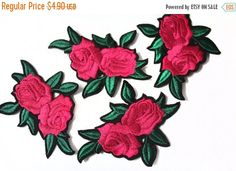 pink rose - open - petals on stem - iron on applique/embroidered