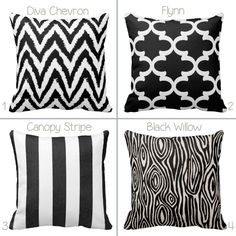 BOGO Black and White Geometric - Durable Stripes Chevron - 14x14 16x16 18x18 20x20 - Removable Envelope Pillow Case Cushion Cover - Decor on Etsy, $25.00