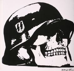 Stencil by Blek le Rat. Skull Tattoos, Body Art Tattoos, Blek Le Rat, Modern Art, Contemporary Art, Skull And Bones, Mural Art, Military Art, French Artists