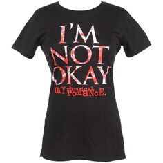 My Chemical Romance I'm Not Okay Girls T-Shirt ($23) ❤ liked on Polyvore featuring tops, shirts, my chemical romance, band merch and band shirts