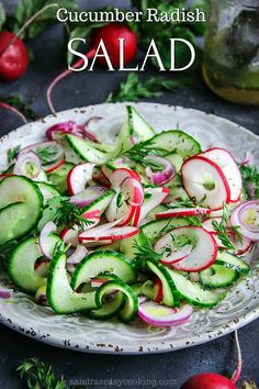 Simple and delicious recipe for Cucumber Radish Salad #recipe #homemade #salad #eatclean #fitness #lightmeals #healthyfood #salad