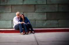 Modern Downtown Engagement in Denver -- love this casual urban look